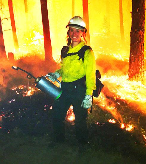 TIMPROCT scholarship winner Kimi Sekorski fighting fires in California.